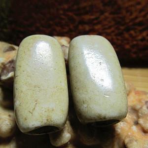 开门到代 战汉时期 鸡骨白 扁珠 玉质细腻 包浆老道 熟润至极