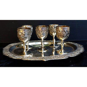 清纯银雕花酒杯一套