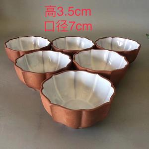 文革时期紫砂挂釉茶杯6个