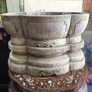 明清汉白玉水仙盆