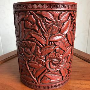 民国木胎剔红花卉大笔筒