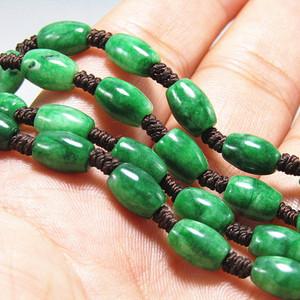 老坑 翡翠 满绿 橄榄珠项链 特别漂亮