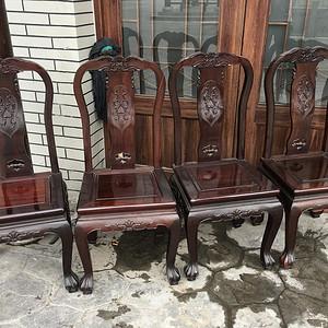 红木单背椅四把一套