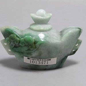 老坑 翡翠阳绿巧雕 如意元宝 赢壶 工艺非常好