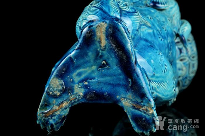 1清孔雀蓝釉狮子戏球摆件图8