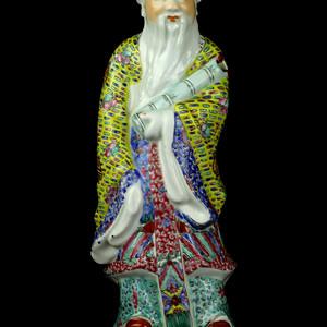 14清晚粉彩神仙人物纹塑像摆件