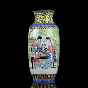 25民国粉彩人物诗词纹灯龙瓶