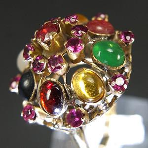 美国回流14K金镶嵌天然宝石戒指