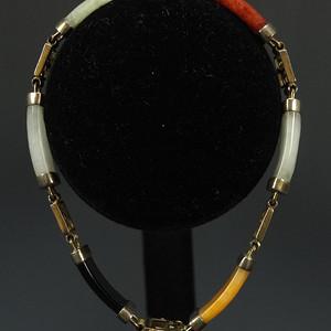 鎏金镶嵌天然A翡翠 手链