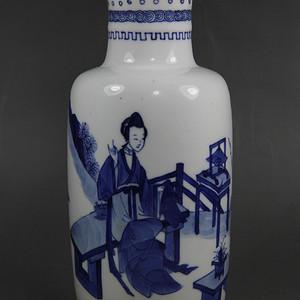 37清康熙青花三娘教子棒捶瓶