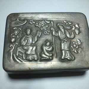清代 纯银 西厢记 磨盒 手工錾刻 工艺精美 包浆老厚自然 名家錾刻