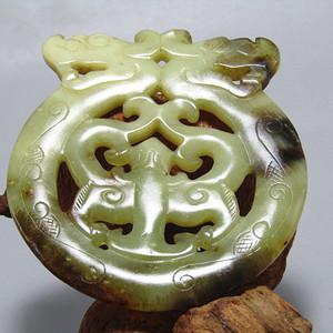 明 和田籽玉 双龙佩 双面工艺 古朴 包浆厚重