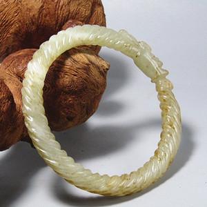 明和田玉 旋转纹 盘龙手镯 沁色自然 包浆熟厚