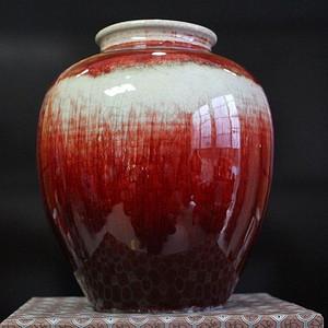 清霁红窑变罐子霁红窑变罐子