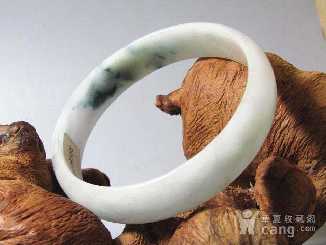 老坑冰种翡翠 飘蓝花手镯 付国检证书图12