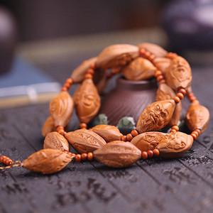 精品天然橄榄核精雕《十八罗汉》长串