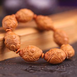 精品天然橄榄核雕《八方来财》手串