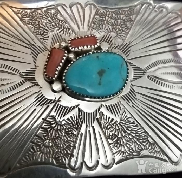 一个纯银镶嵌珊瑚绿松石的皮带扣图6