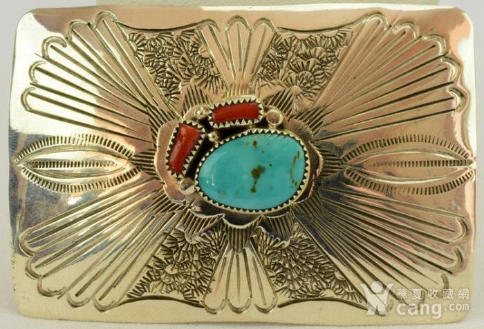 一个纯银镶嵌珊瑚绿松石的皮带扣图3