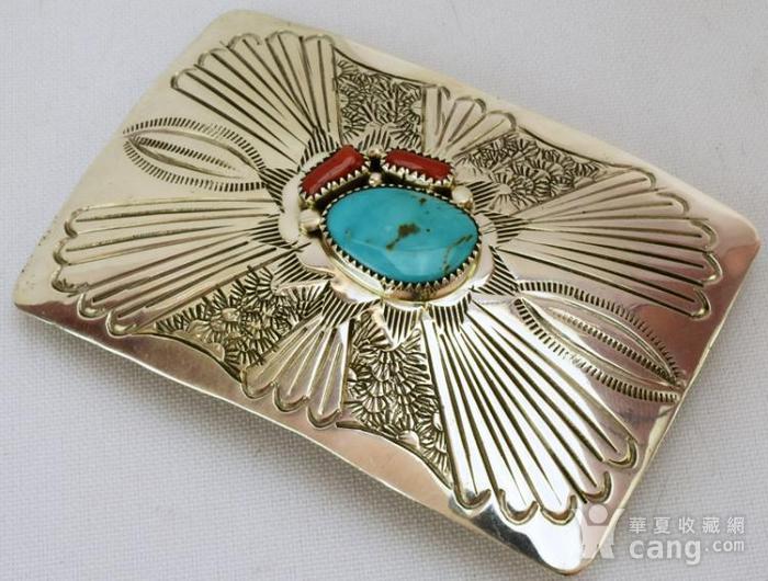 一个纯银镶嵌珊瑚绿松石的皮带扣图5