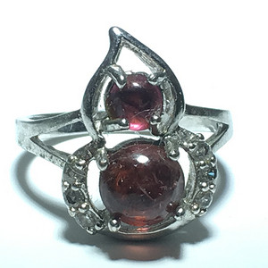 恐怕 巴西红碧玺 福禄 戒指镶嵌 白锆石 纯银托