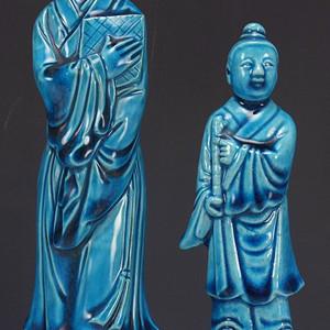 民国孔雀蓝釉 瓷塑摆件