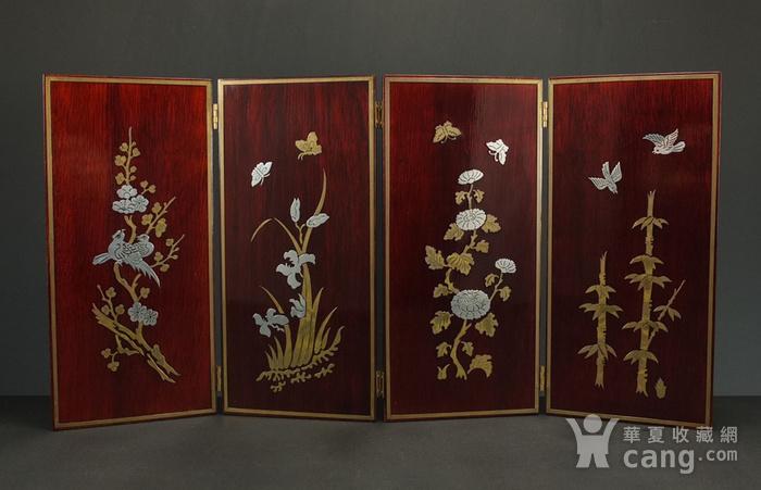 硬木镶嵌烫金银四季花鸟 屏见图1