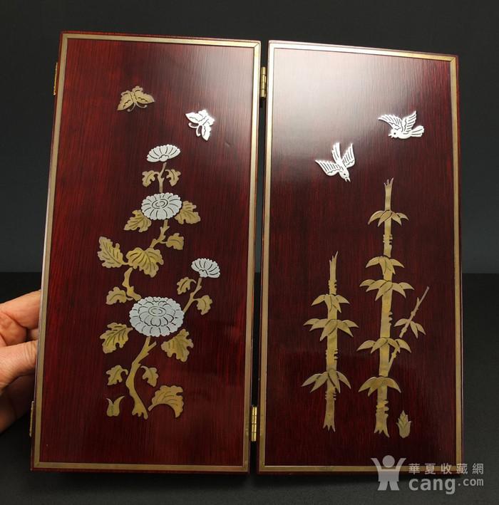 硬木镶嵌烫金银四季花鸟 屏见图3