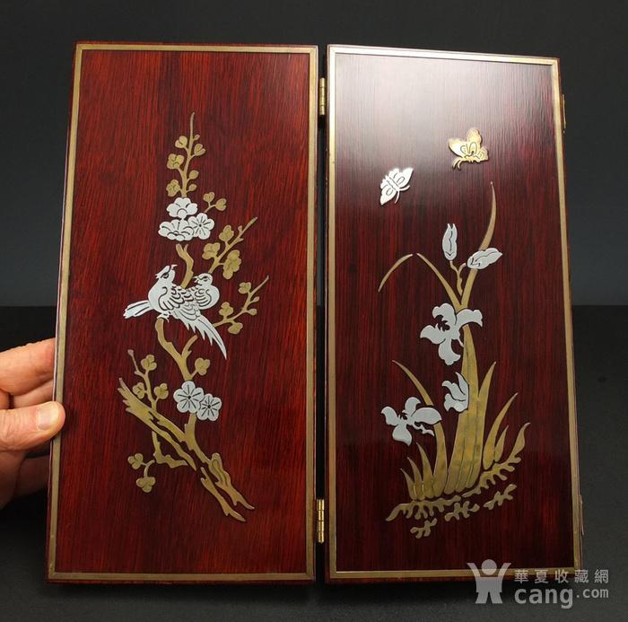 硬木镶嵌烫金银四季花鸟 屏见图4