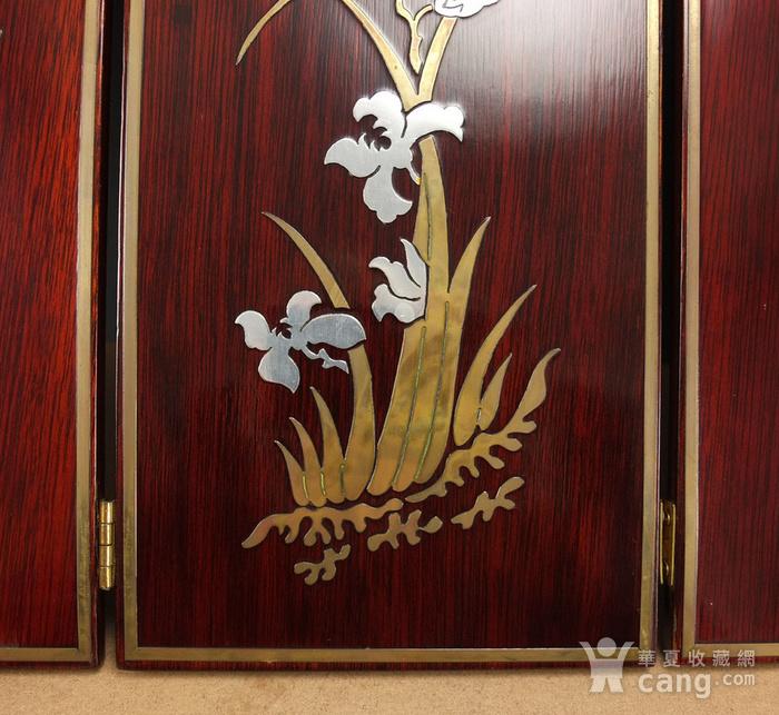 硬木镶嵌烫金银四季花鸟 屏见图9