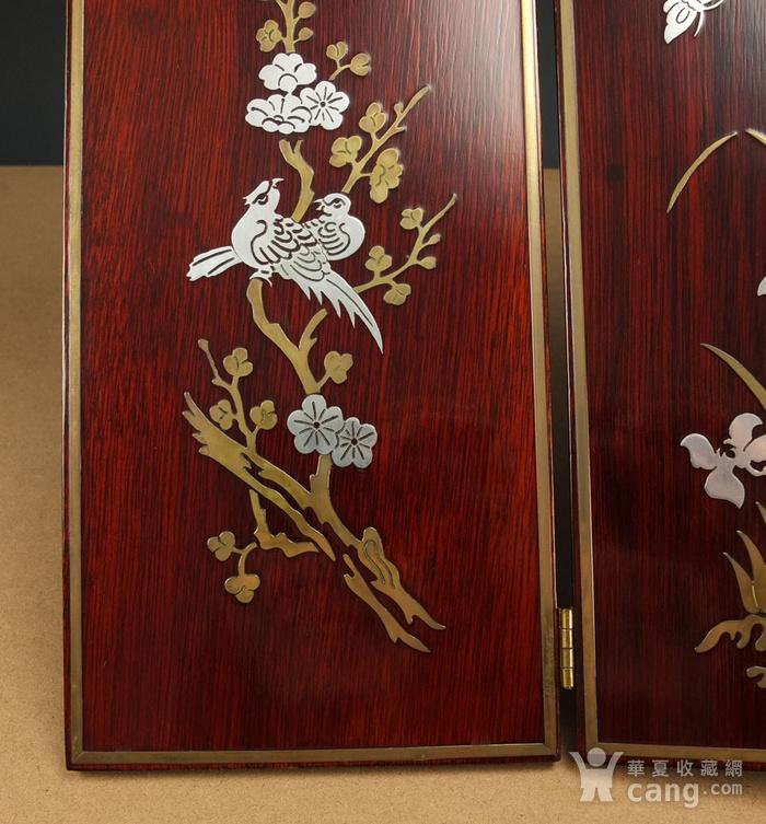 硬木镶嵌烫金银四季花鸟 屏见图10