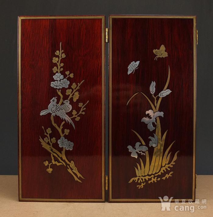 硬木镶嵌烫金银四季花鸟 屏见图5