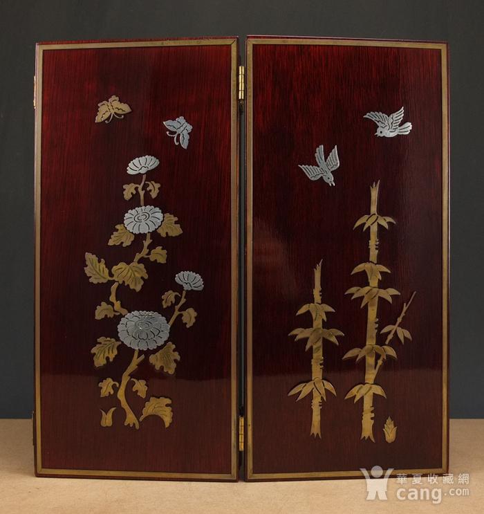 硬木镶嵌烫金银四季花鸟 屏见图11