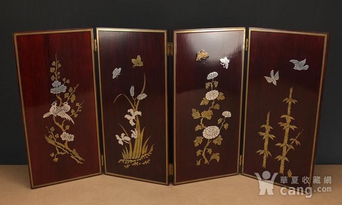 硬木镶嵌烫金银四季花鸟 屏见图2