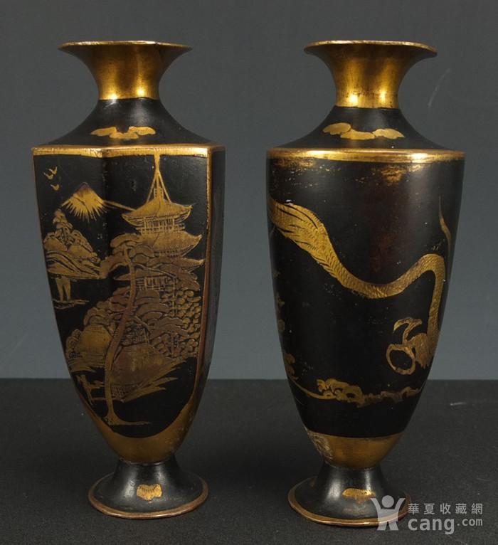 清代铜胎描金龙纹观音瓶 一对图2