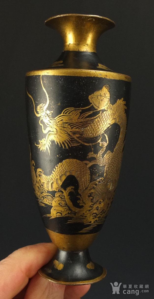 清代铜胎描金龙纹观音瓶 一对图8