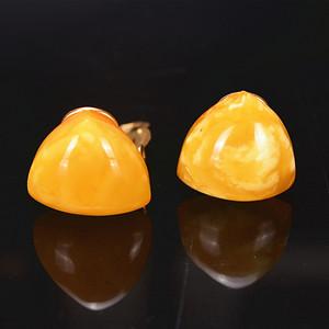 欧洲回流 天然鸡油黄蜜蜡耳夹一对