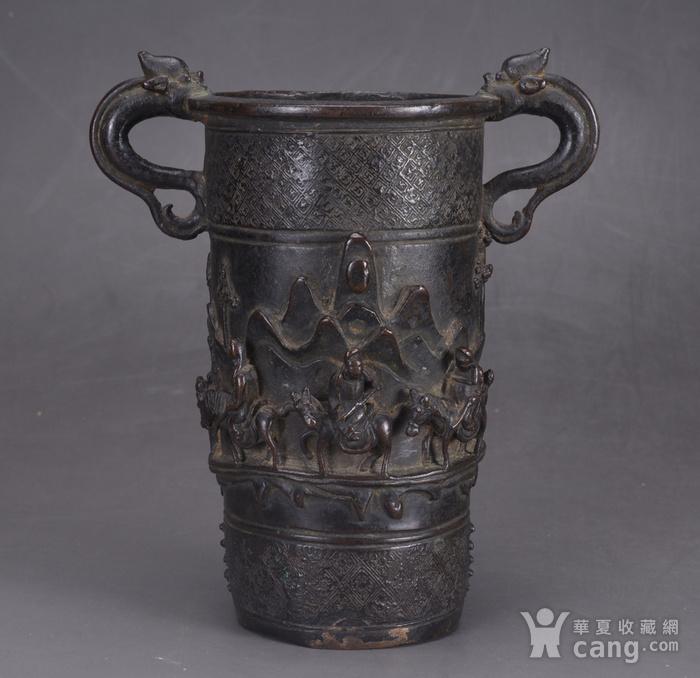 明 浮雕人物 铜香筒