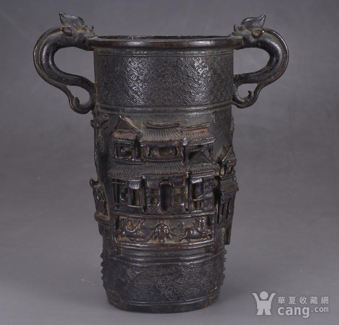 明 浮雕人物 铜香筒图3
