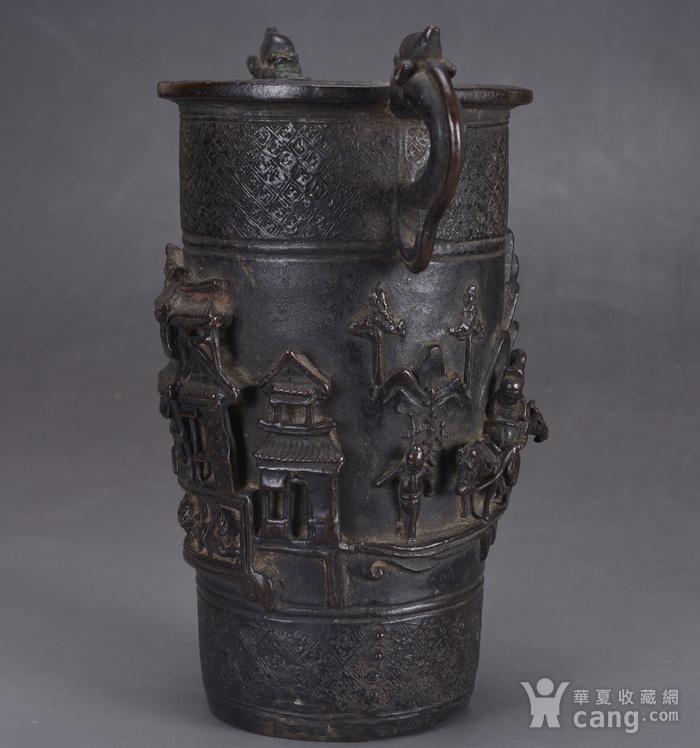 明 浮雕人物 铜香筒图4