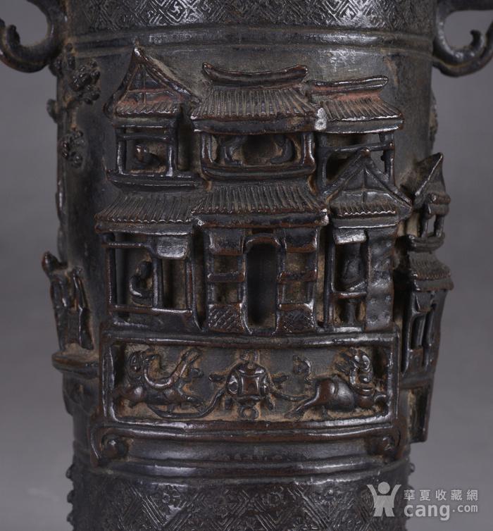 明 浮雕人物 铜香筒图6