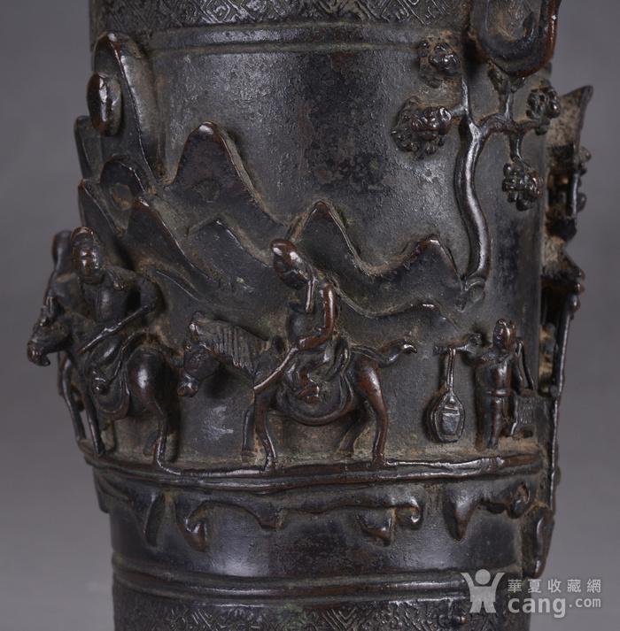 明 浮雕人物 铜香筒图8