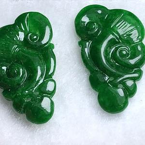 精品 清代满绿帝王绿翡翠如意一对