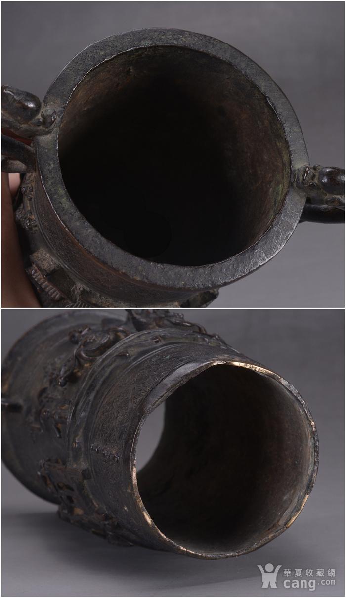 明 浮雕人物 铜香筒图9