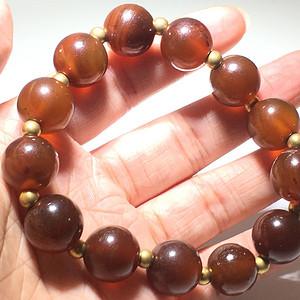明代 天然江河玛瑙 焦糖色 圆珠一串 花纹漂亮