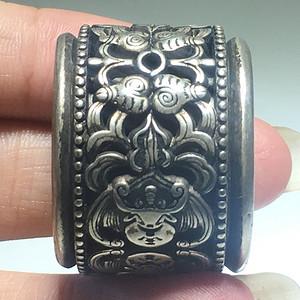 清代 纯银 福在眼前 板指 可以转动 手工雕刻