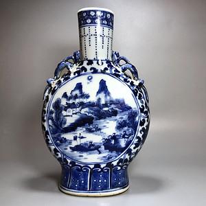 欧洲回流 清代青花抱月瓶一件