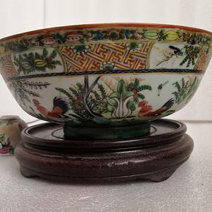 民国广彩公鸡白菜纹大碗直径25.3公分包真包老