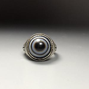 藏区回流 老玛瑙天珠戒指一枚