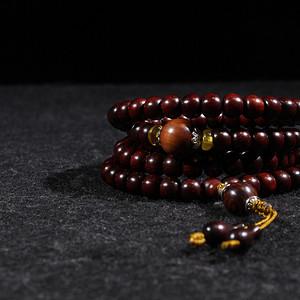印度小叶紫檀9 7mm藏式鼓珠
